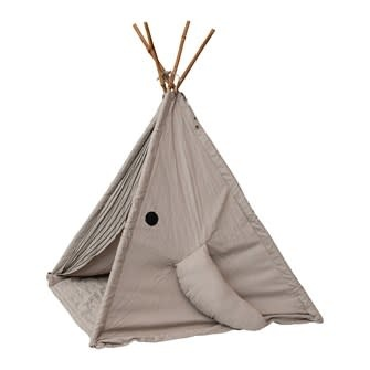 Cotton Whale Teepee w/ Mat & Embroidery, Grey