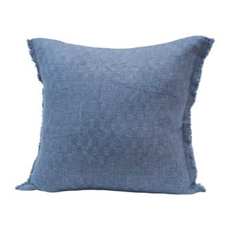 """20"""" Square Woven Cotton Blend Jacquard Pillow w/ Check Pattern & Frayed Edges, Navy"""