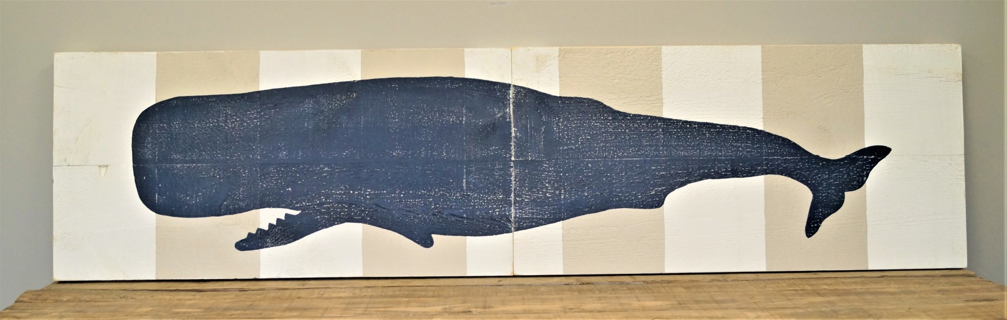 2x8 2 Panel Indigo Streamer Whale #2 White/WW Stripes