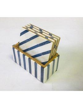 Bone Coasters Blue and White Stripe Set of 4