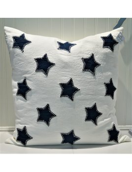 Indigo Stars Applique on White Linen Pillow 21x21