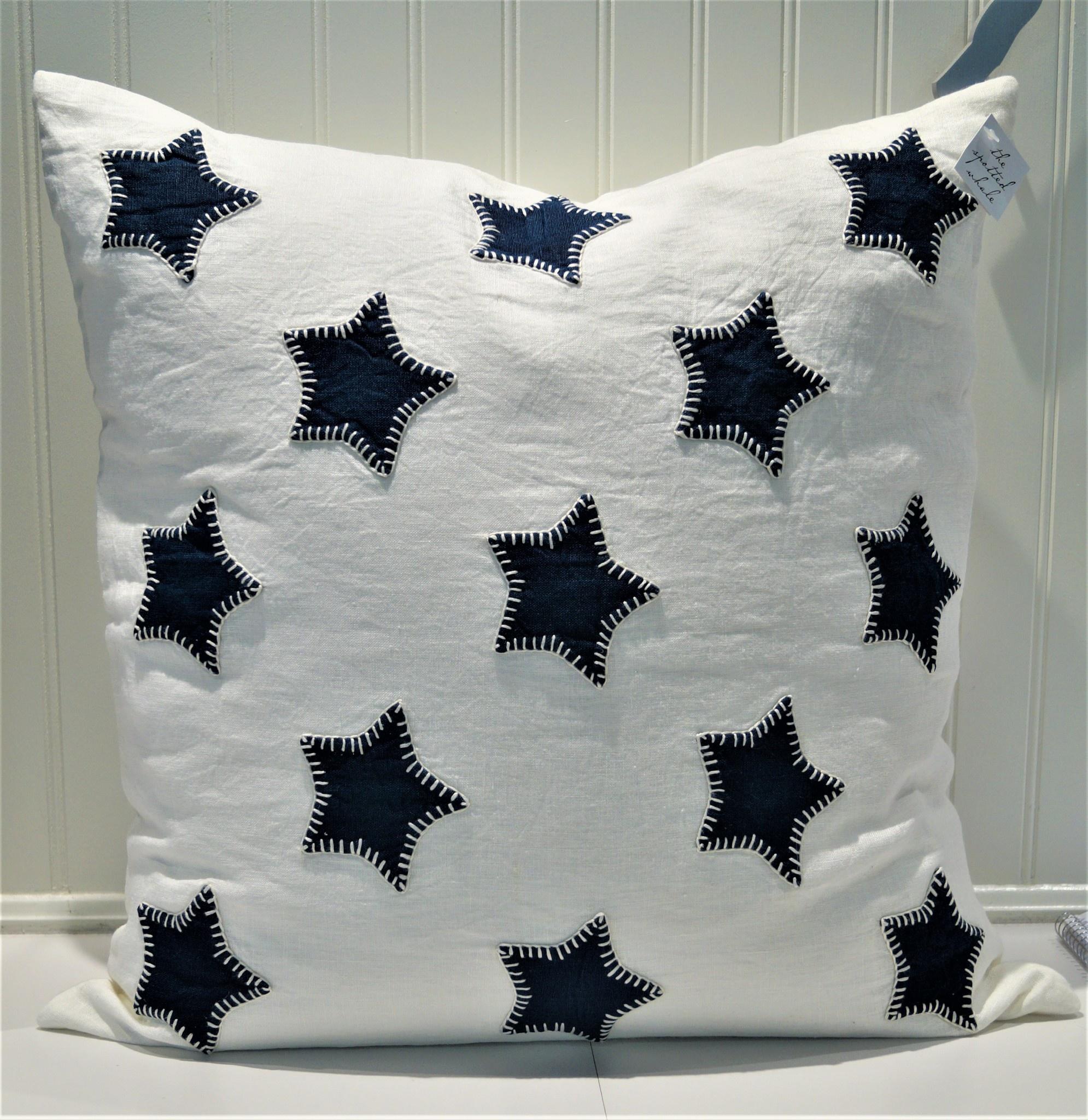 Indigo Stars Applique on White Linen Pillow 21x21