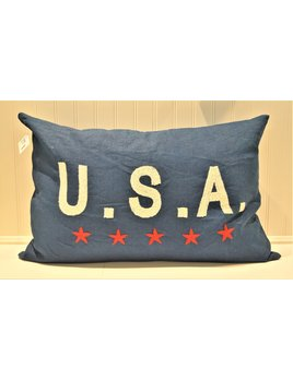 USA on Indigo Linen 16x24 Pillow