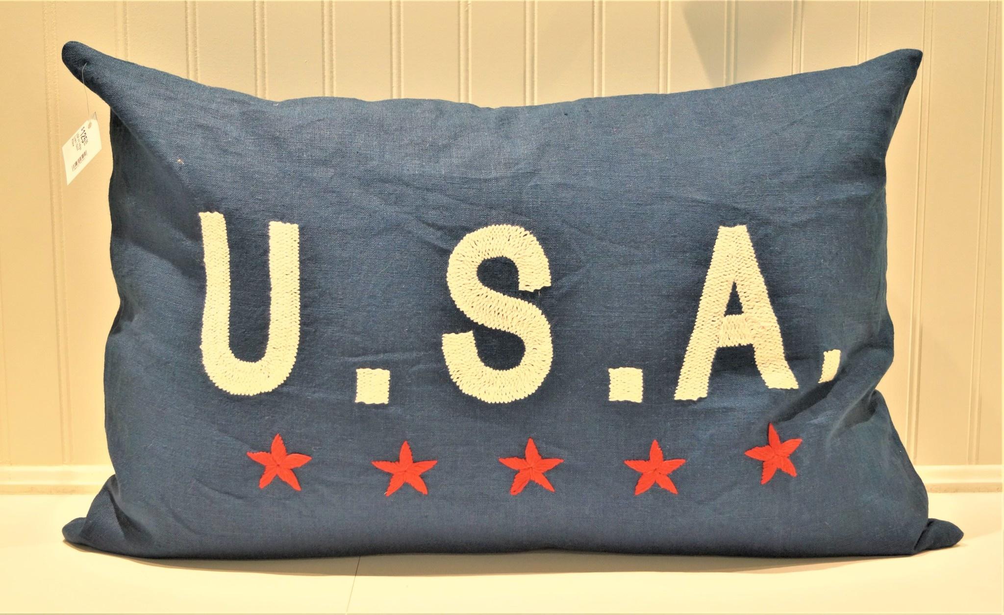 USA on Indigo Linen 16x24 Pillow