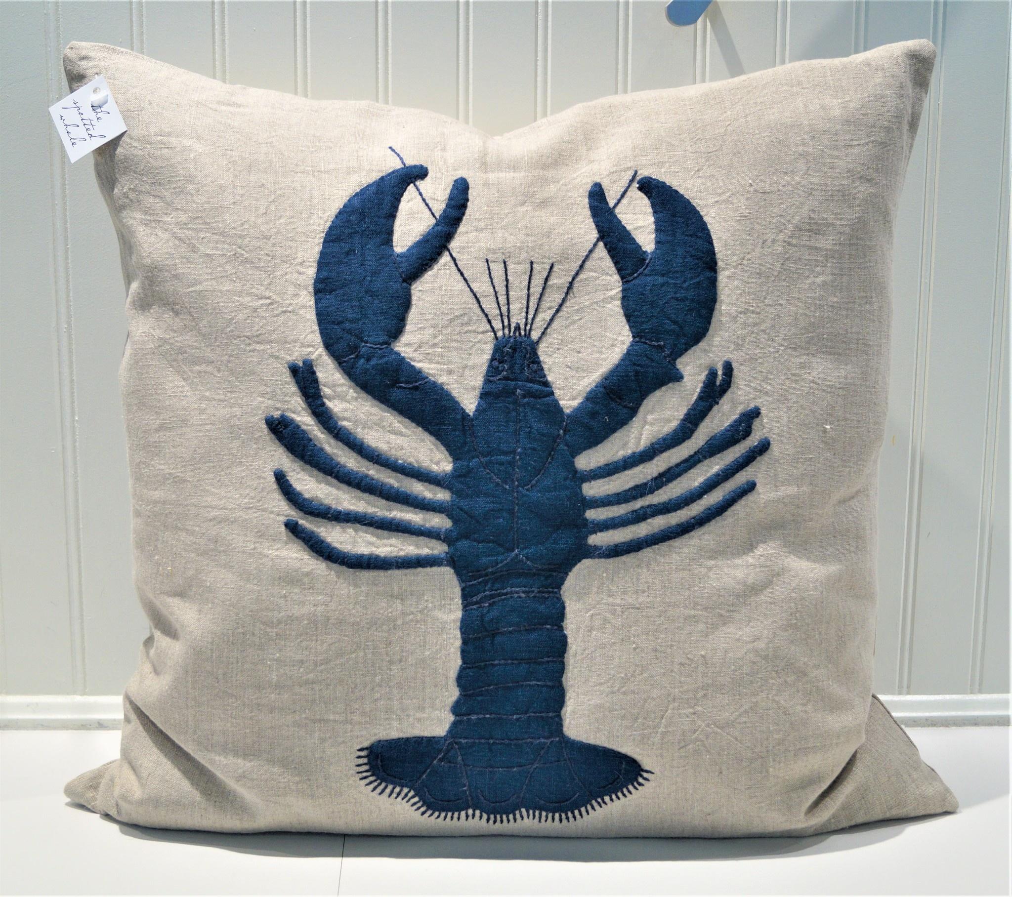 Lobster Natural Linen Porch Pillow 21x21