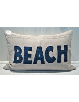 Beach Indigo on Natural Linen Pillow 16x24
