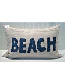 Beach Indigo on Natural Linen Pillow 16x24
