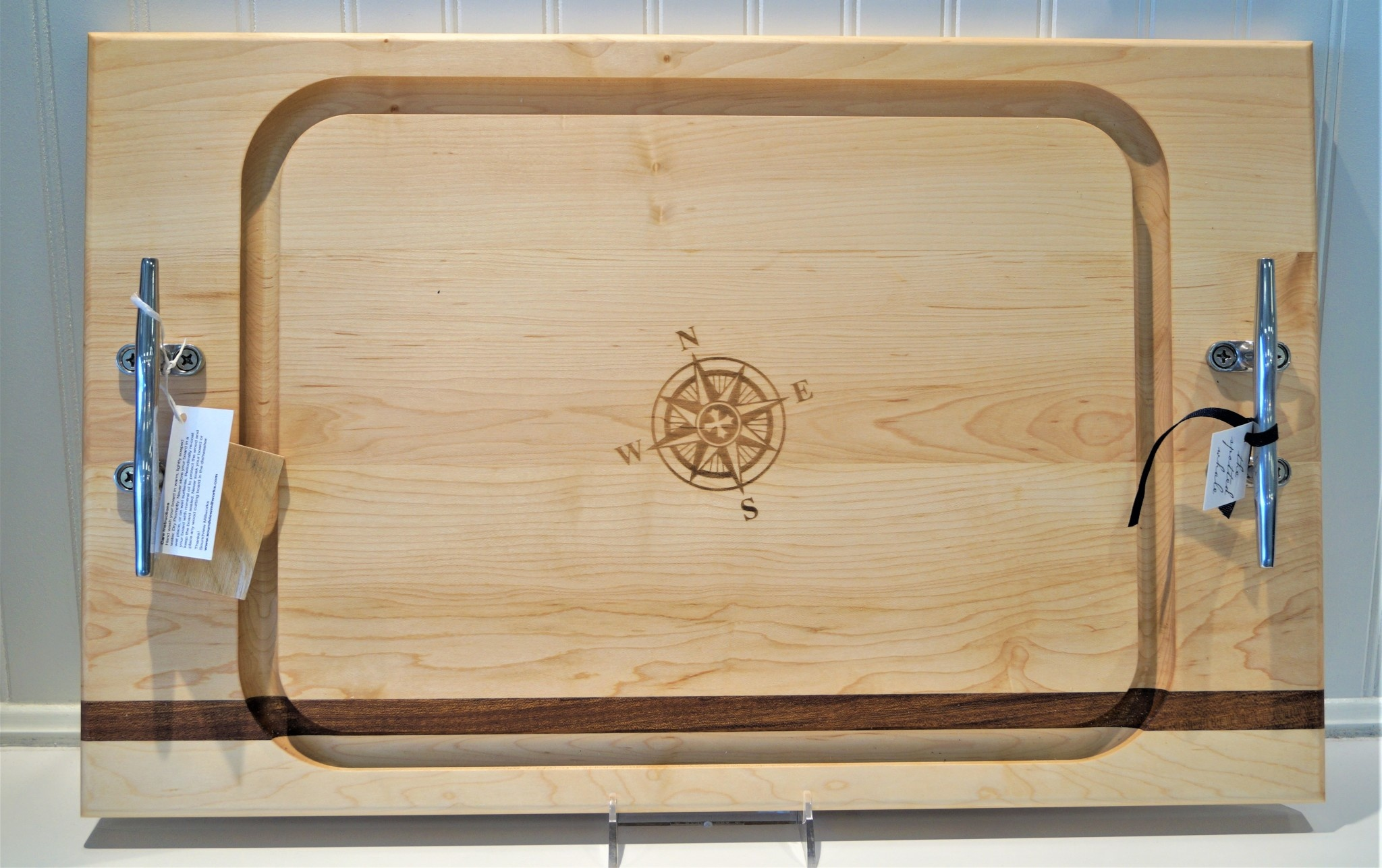 Large Steak Board 24x15 with Cleat Handles Compass Rose