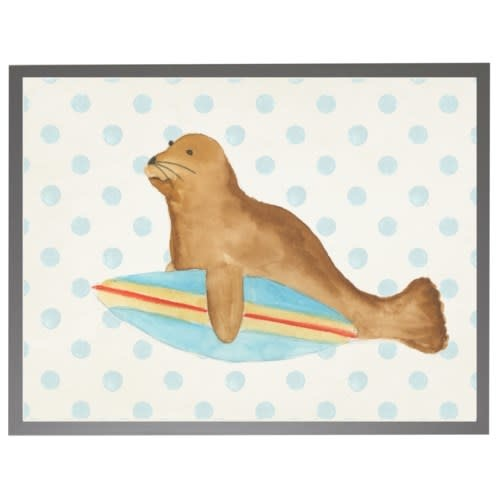 Watercolor Seal with Surfboard with Geometric Background 16x20