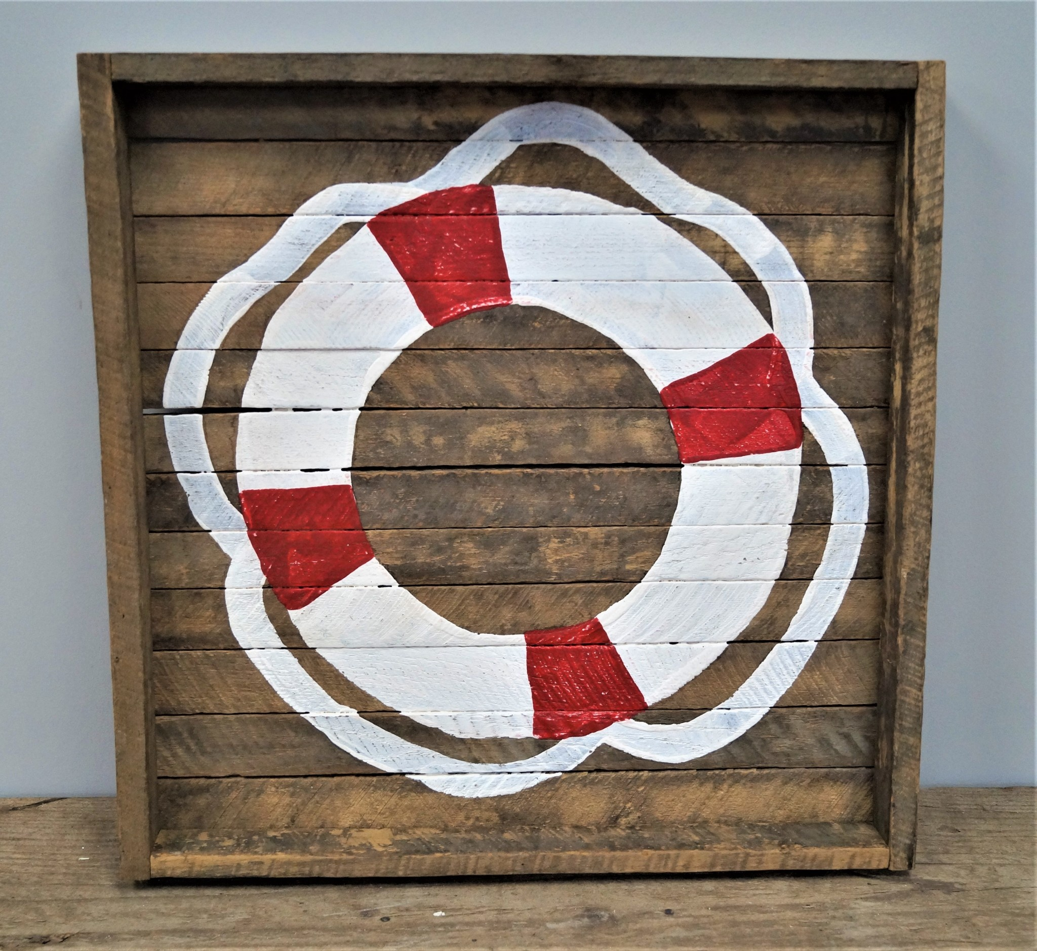 Square Tobacco Tray Life Preserver White with Red