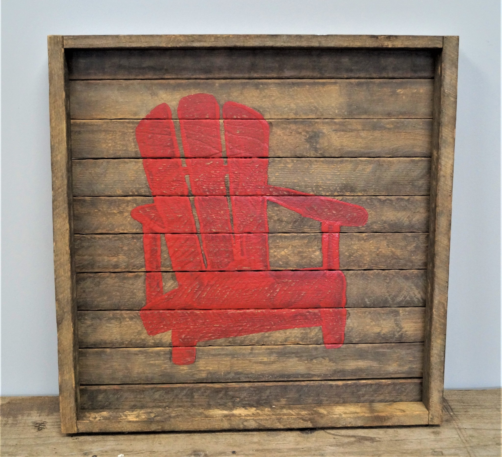 Square Tobacco Tray Chair Red
