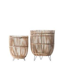 Round Arurog Baskets w/ Metal Feet, Set of 2