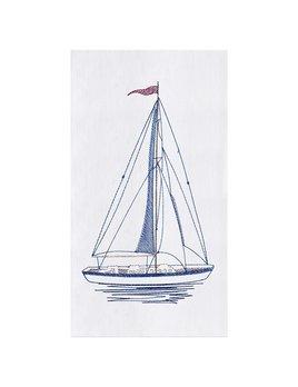 Sailboat Stitched Kitchen Towel