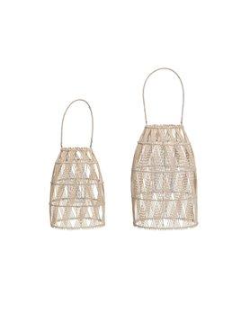 Woven Bamboo Lanterns w/ Handle & Glass Insert, Set of 2