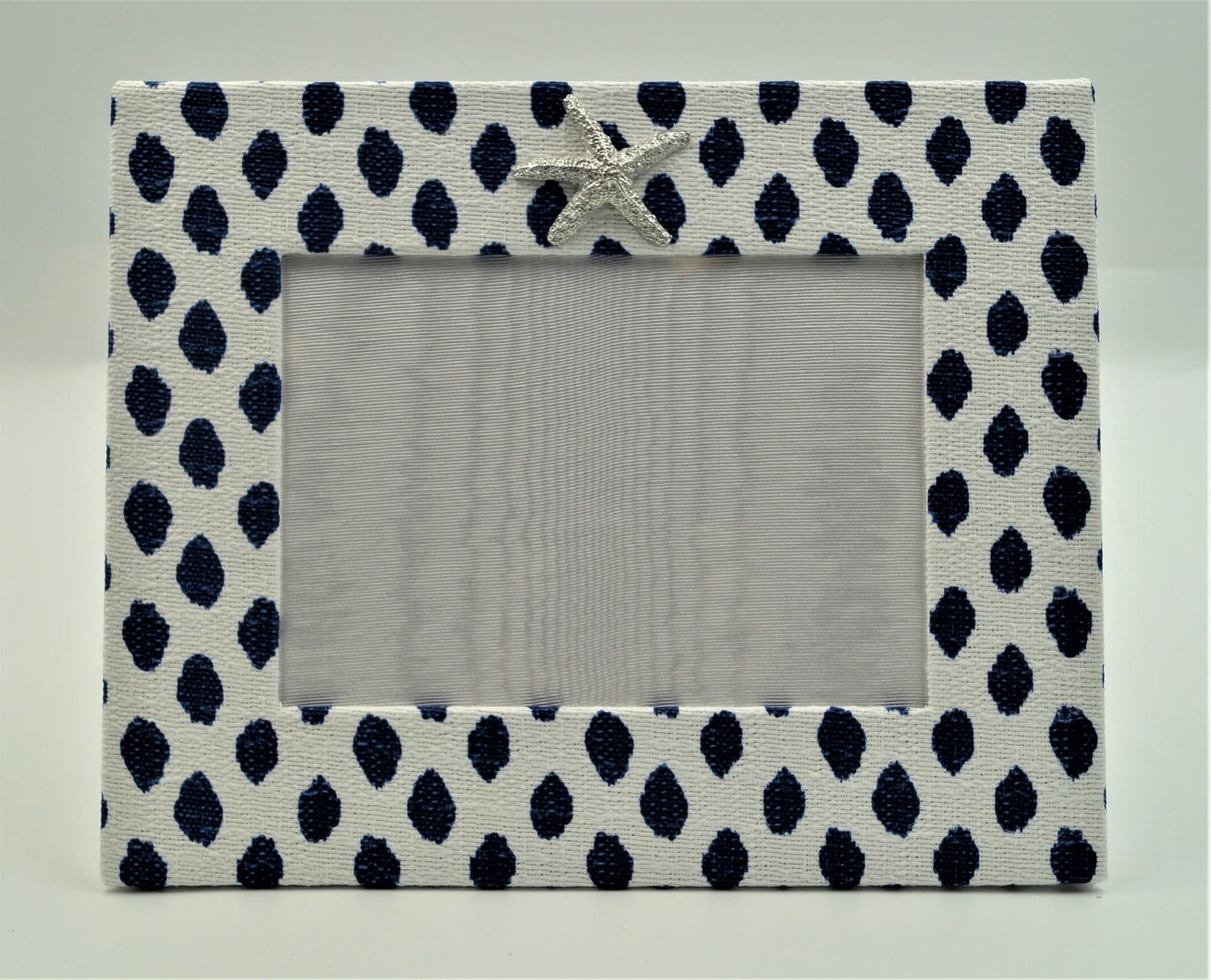 Pewter Medallion Starfish Horizontal Frame 5x7 Midnight Blue Dot