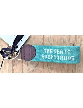 The Sea is Everything White Lettering on Aqua Background Key Fob