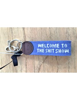 Welcome to the Shit Show White Lettering  on Cape Blue Key Fob