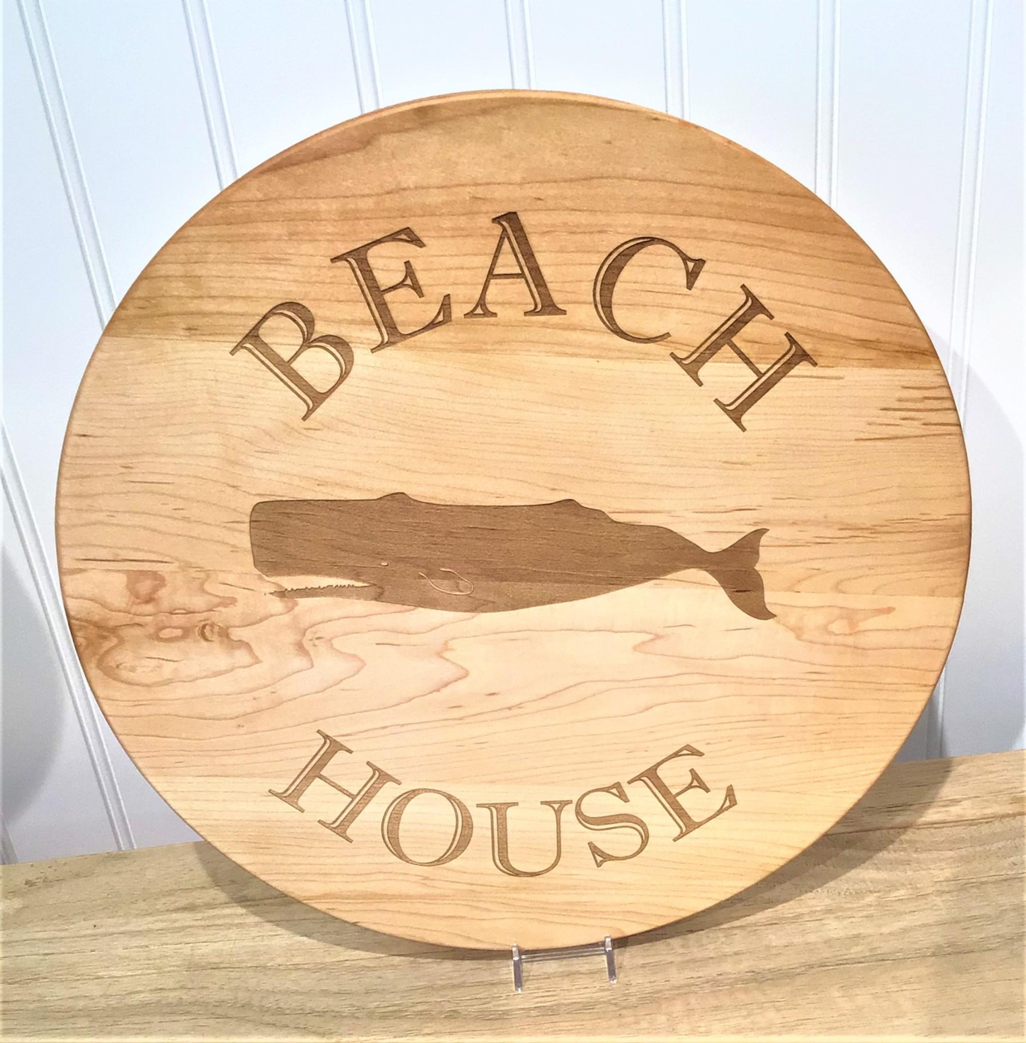 Beach House with Whale 16x16 Lazy Susan Maple