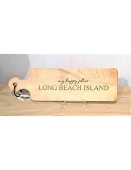 My Happy Place Long Beach Island 20x6 Handled Maple Bread Board