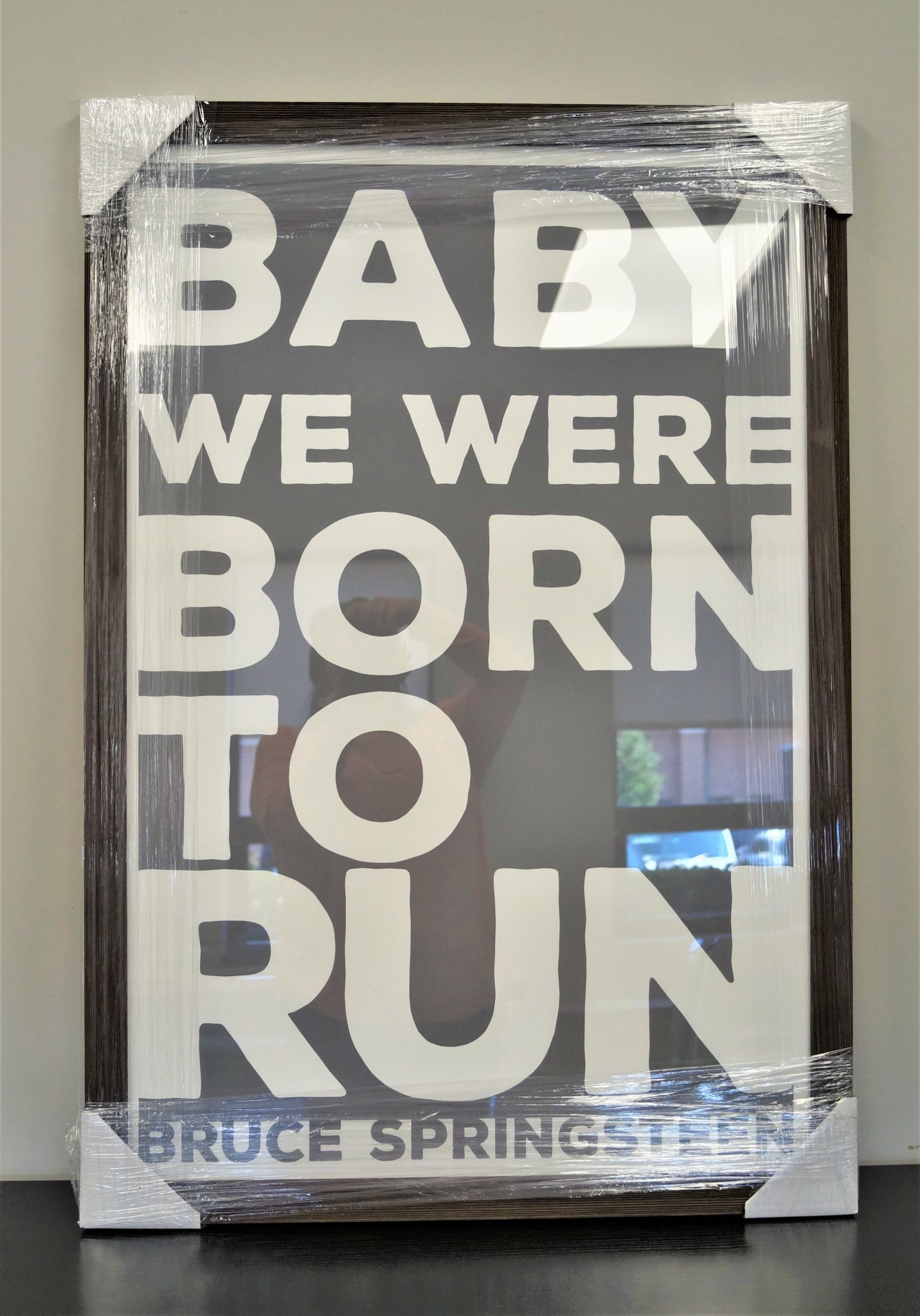 Born to Run  Grey and White 24x36 Distressed Wood Frame