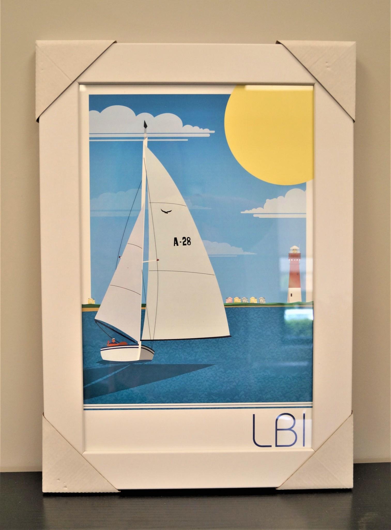 LBI Sailboat 11x17 White Frame