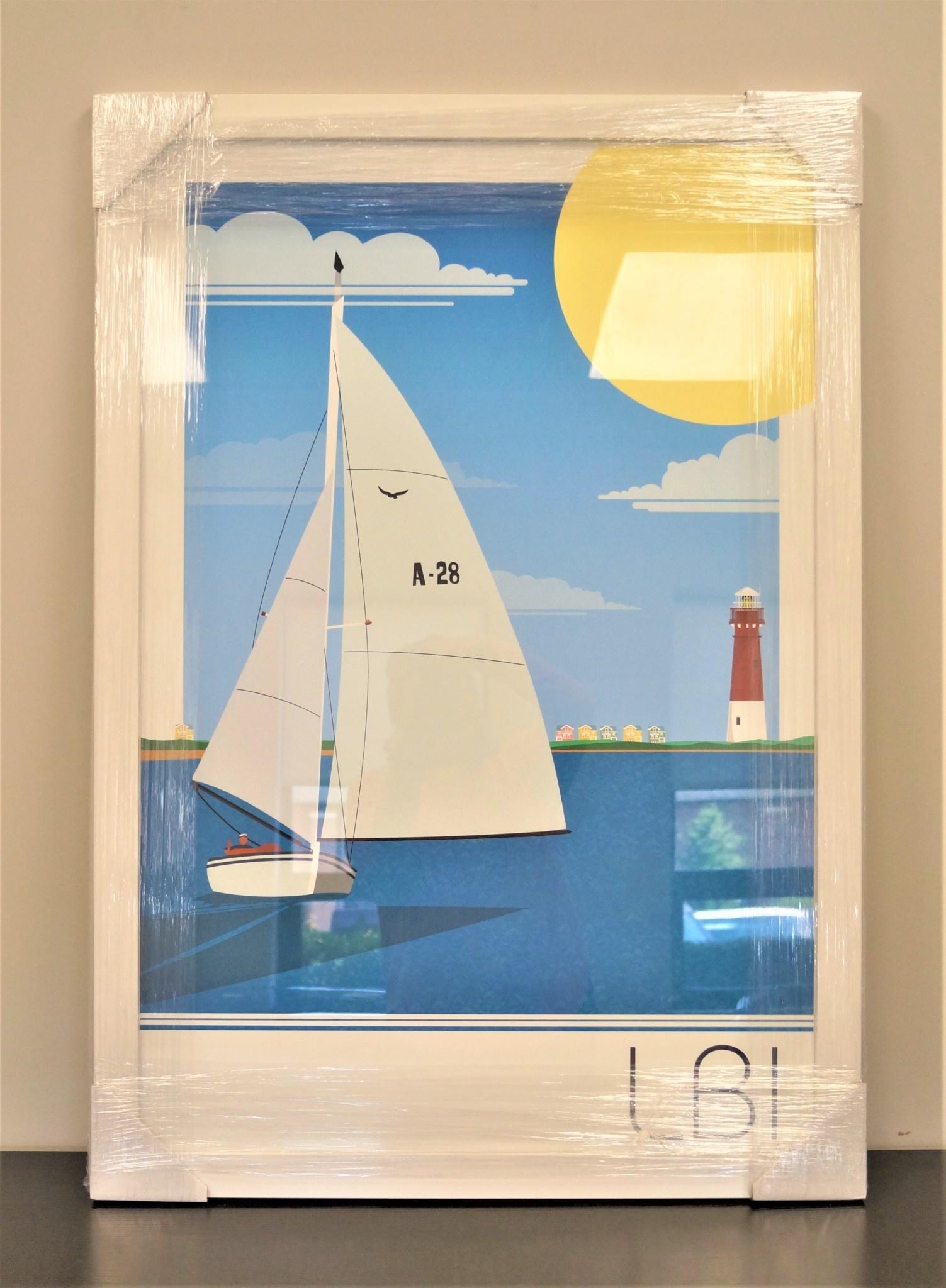 LBI Sailboat 24x36 White Frame