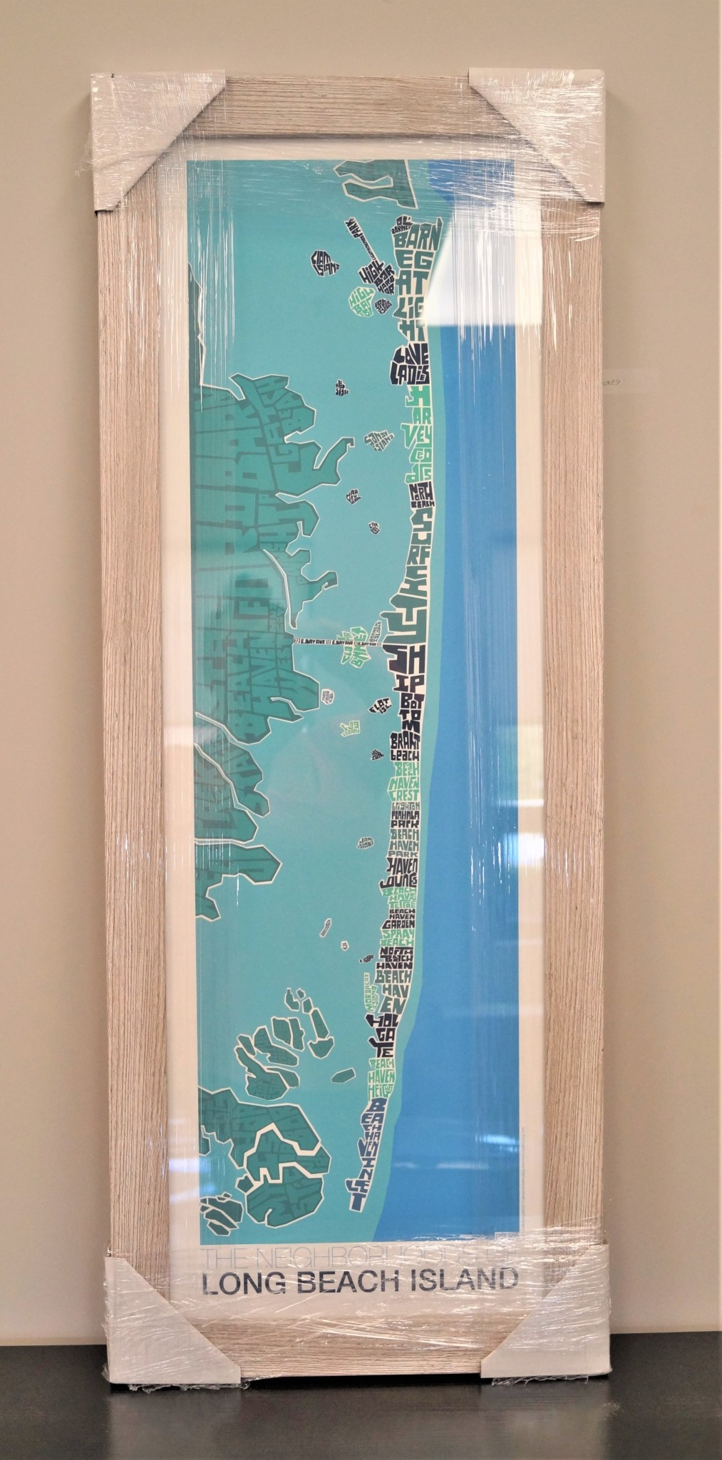 I Lost My Dog LBI Type Map Blue w/ White Distressed Frame 12x36