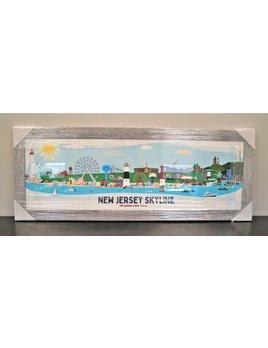 New Jersey Skyline 12x36 Grey Distressed Frame