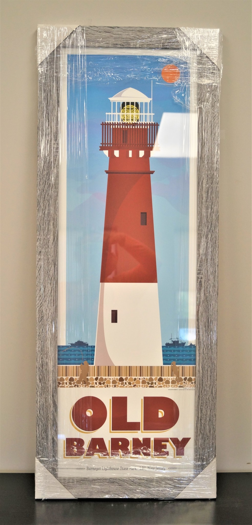 Old Barney Lighthouse 12x36 Grey Distressed Wood Frame