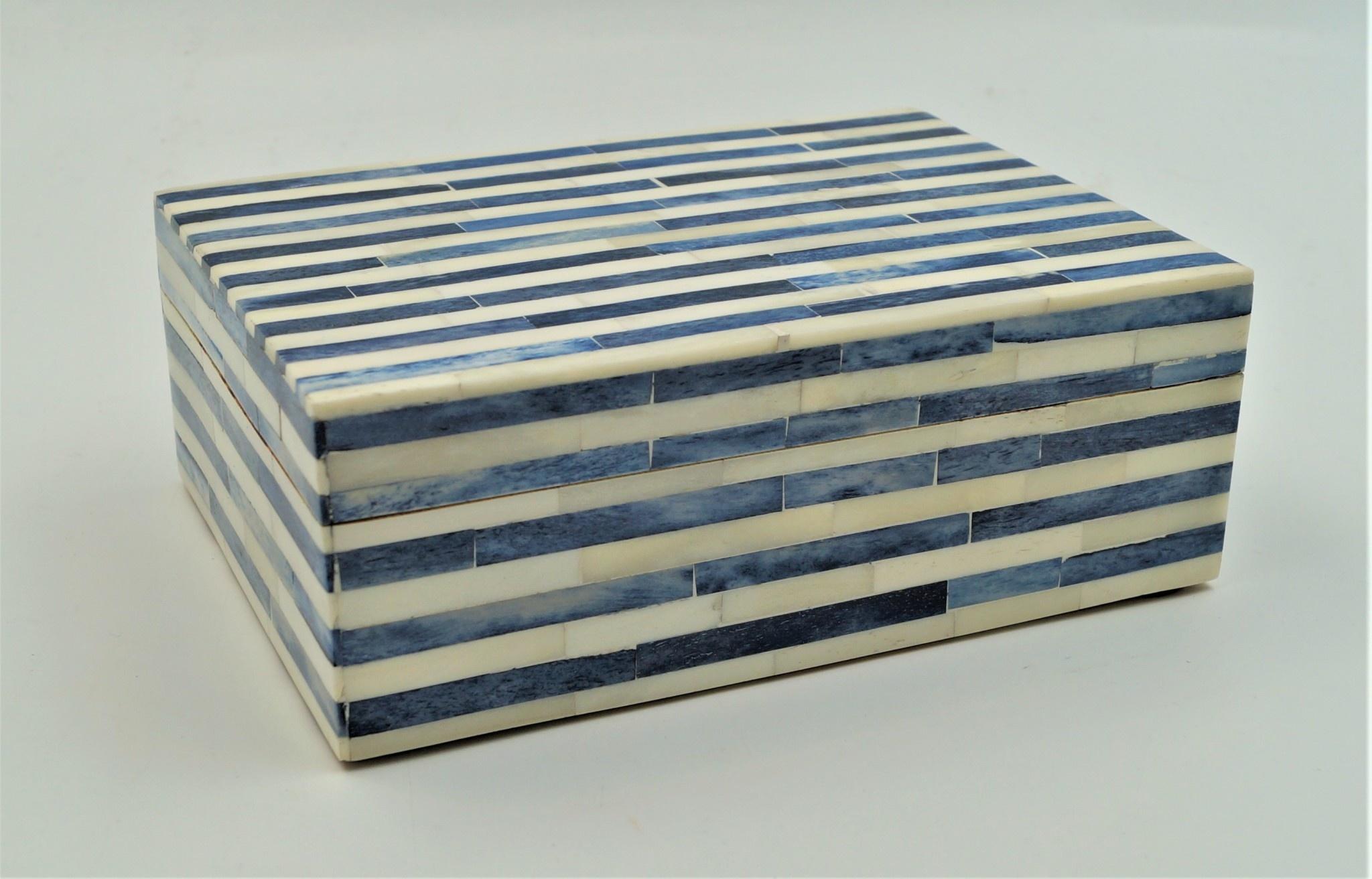 White Sky Blue Line Box Small