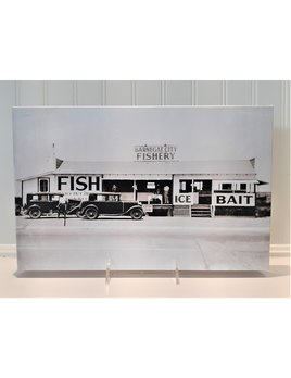 Canvas Barnegat City Fishery 9x14 Black and White