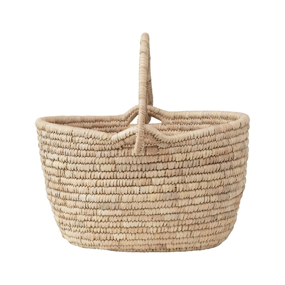 Oval Hand-Woven Grass & Date Leaf Basket with Handle