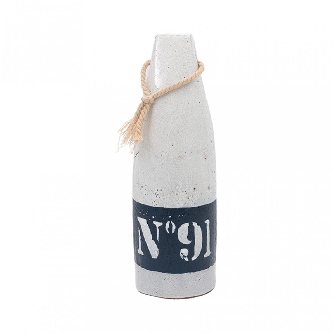 Ceramic Buoy White and Blue #91