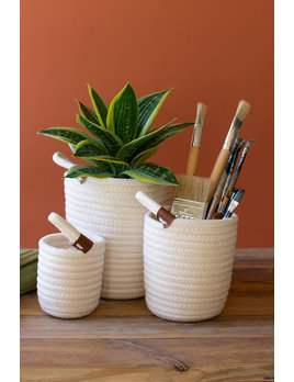 Set of 3 White Tall Coiled Cotton Storage Baskets