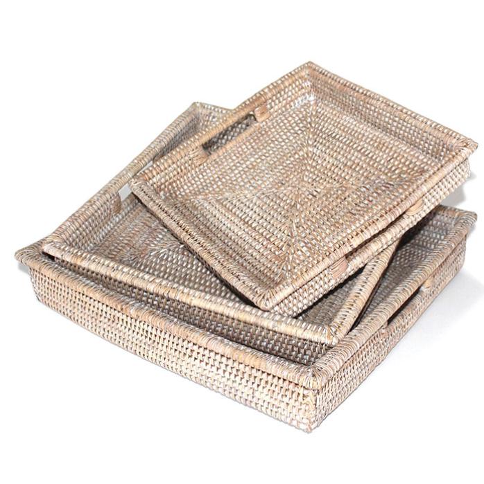 Set of 3 Square Tray w/ Handles White Wash