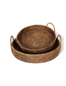 Set of 2 Round Tray with Loop Handles Antique Brown