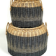 Set of 2 Lidded Round Basket W/ Straw Handles Grey Wash and Natural