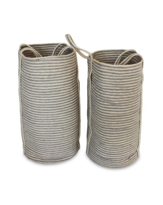 Set of 2 Jute Tall Laundry Basket Long Handle Silver Grey/Bleach White Mini Stripe