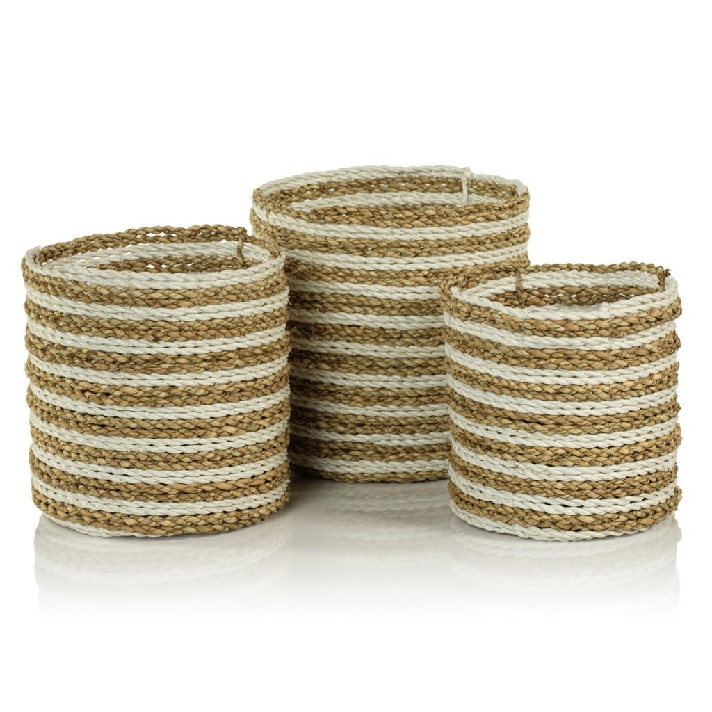 Moro Bay Mendong Two-Tone Baskets - Set of 3 - Natural and White