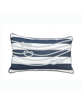 Navy and White Rope Indoor/Outdoor Lumbar Pillow