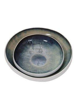 Ceramic Bowls Large White/Green