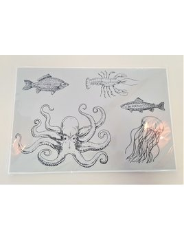 Octopus with Sea Creature Paper Placemat Pad Light Blue Background (30)