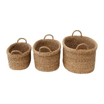 Oval Hand-Woven Seagrass Baskets with Handles Medium