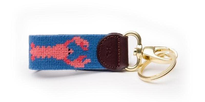 Lobster on Faded Blue Key Fob
