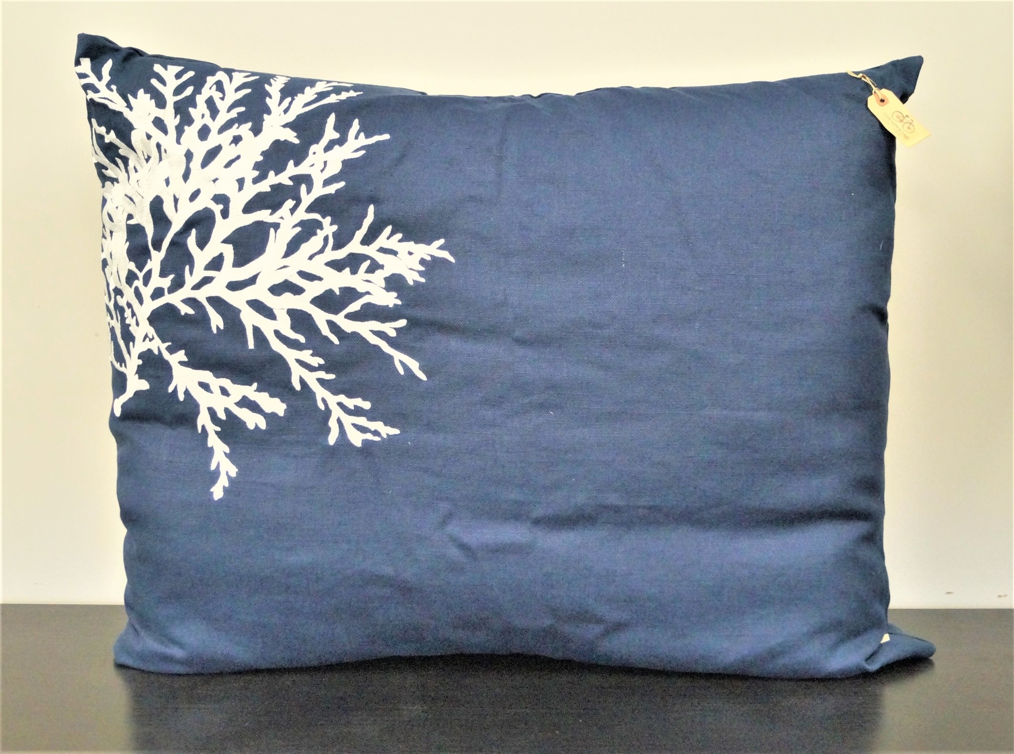 Navy Basket Weave with White Coral Embroidery Dutch Euro 31x37