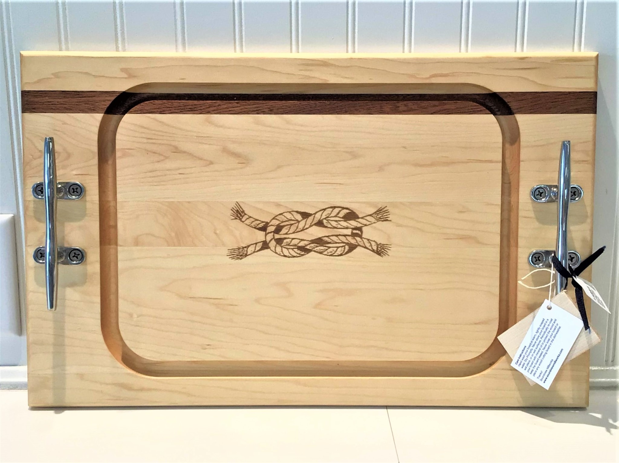 Medium Steak Board 20x12.5 Knot Cleat Handles