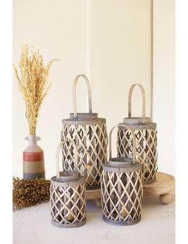 Grey Willow Cylinder Lantern Large