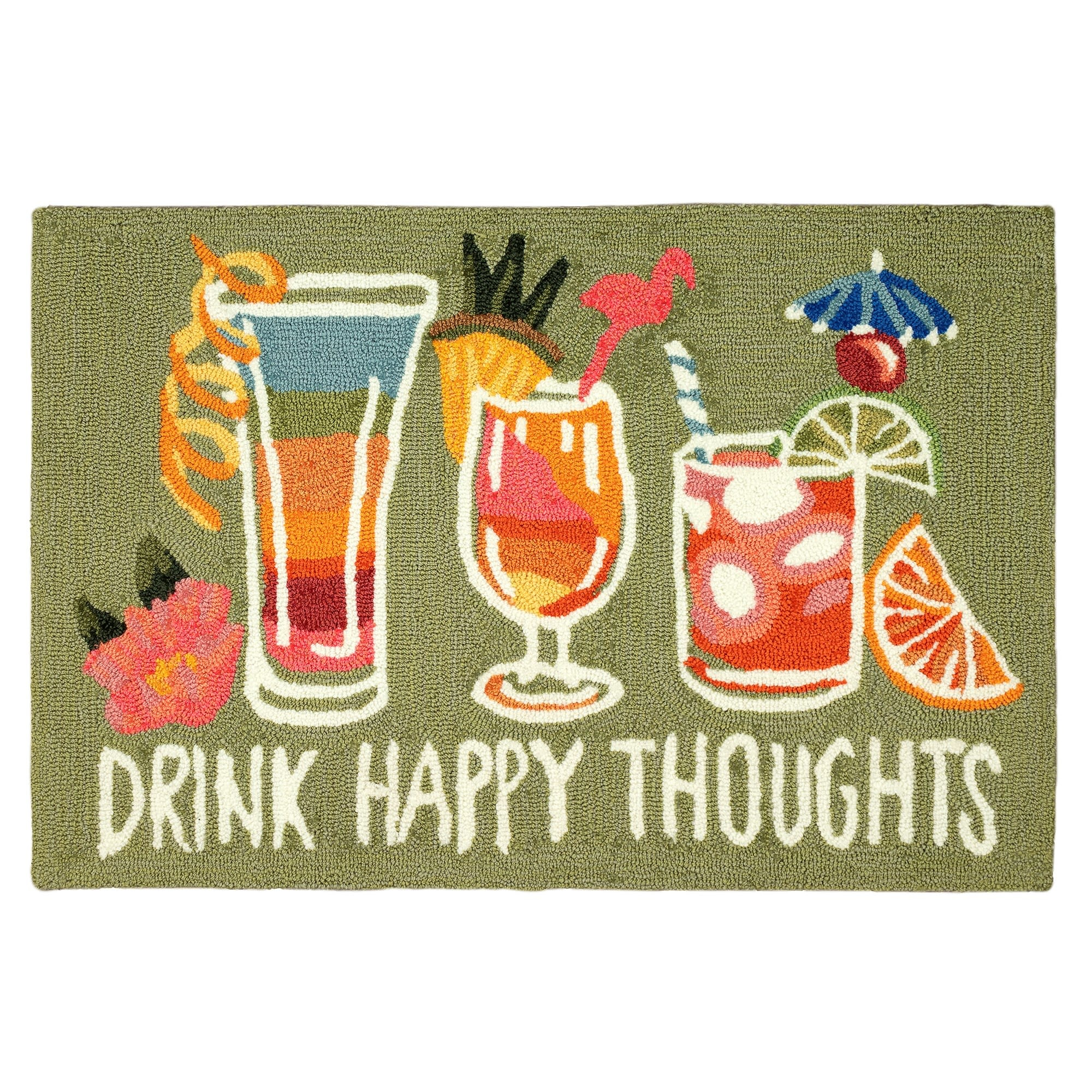 Happy Drinks Green Rug 24x36