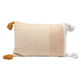 24x16 Woven Recycled Cotton Blend Lumbar Pillow w/ Tassels, Yellow & Cream Color