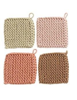 "8"" Square Cotton Crocheted Potholder, 4 Colors"